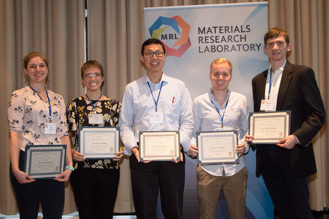 Five winners chosen from 60 entries during MIT Materials Day Poster Session Oct. 10, 2018.