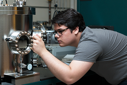 Grant Smith works to establish parameters for making ferromagnetic thin films